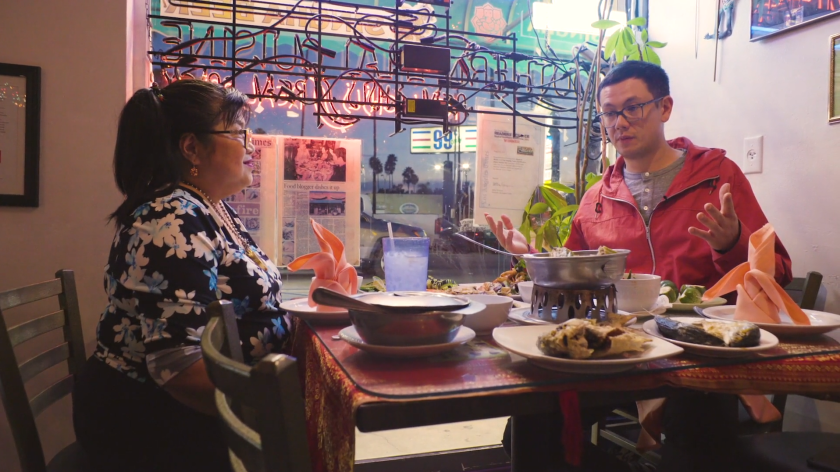 """Jitlada owner Jazz Singsanong, left, and Lucas Kwan Peterson and in the first episode of """"Off Menu"""""""