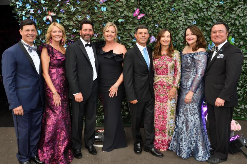 Michael and Cathy Maywood (Jewel Ball co-chair), Robert and Shay Stephens (Jewel Ball co-chair), Leandro and Nicole Velazquez (Jewel Ball chair), Las Patronas president Michelle Wiseman and Joe Wiseman