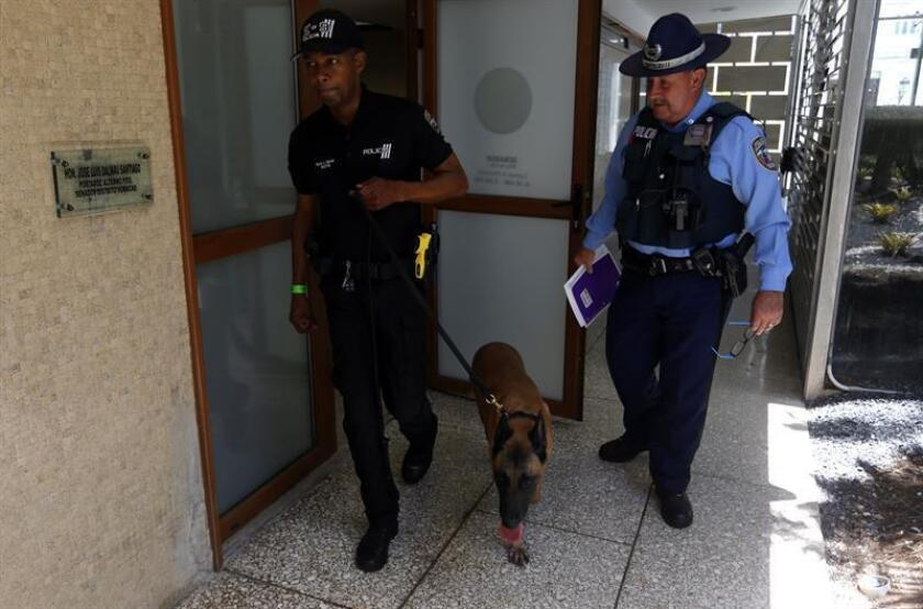 Dos agentes de la policía de Puerto Rico realizan una inspección después de detener a 33 personas por venta de armas y drogas. EFE/Archivo