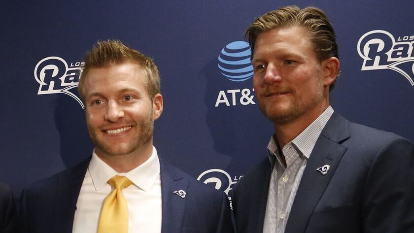 Rams coach Sean McVay (left) and general manager Les Snead will be running their fourth NFL draft together.