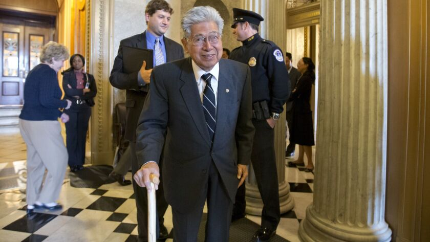 Sen. Daniel Akaka, the first Native Hawaiian to serve in the Senate, leaves the chamber on Capitol Hill in 2012 after delivering his farewell speech.