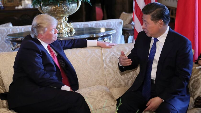 Chinese President Xi Jinping meets with Donald Trump at Mar-a-Lago in Palm Beach, Fla. on April 6.