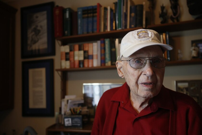 San Diego, California, USA. December 15th 2015: Retired Dr. Blake Talbot, a 100-year-old who has owned season tickets continuously since the Chargers first season in San Diego (1961) in his study talking football memories. (Alejandro Tamayo / San Diego Union-Tribune)