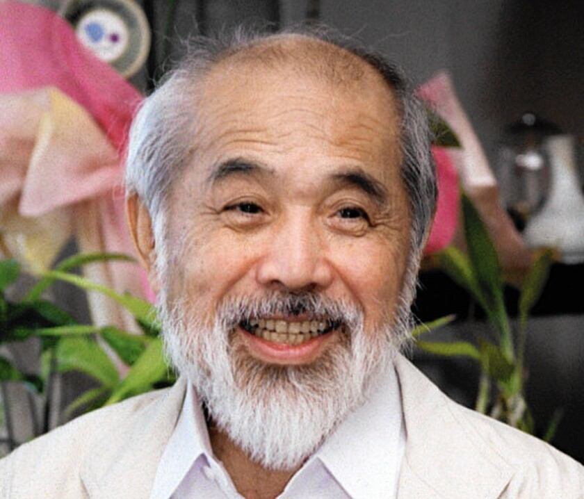 Japanese industrial designer Kenji Ekuan in Tokyo in 2003. The former monk's designs ranged from a bullet train to the red-capped Kikkoman soy sauce dispenser as familiar as the classic Coca-Cola bottle.