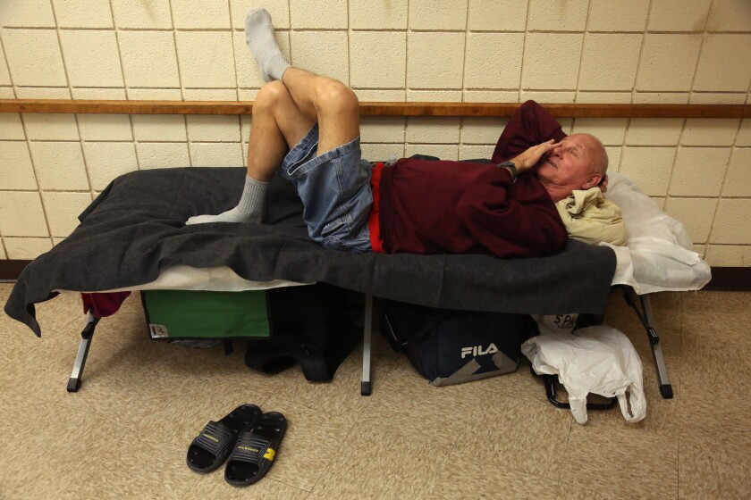 Gary Lindley, 68, at a homeless shelter in Long Beach.