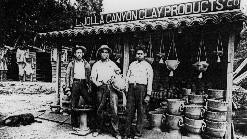 In an undated photo, Abraham, Cornelio and Ubaldo Rodriguez pose in front of their pottery on La Jolla Canyon Road (now Torrey Pines Road in what is now Pottery Canyon Park).