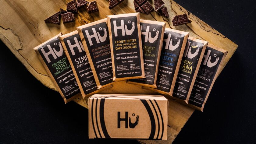 Bars of chocolate from Hu Kitchen are all vegan.