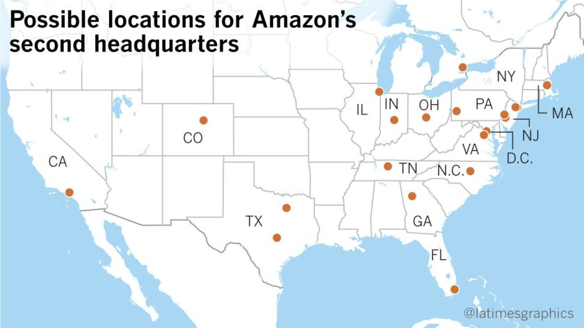 Amazon picks 20 possible places for its second headquarters