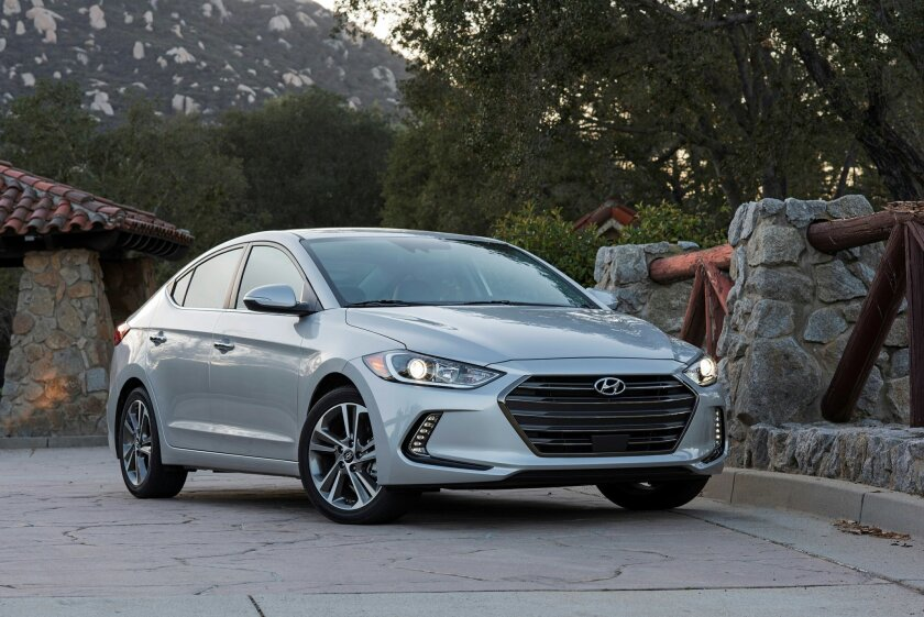 This photo provided by Hyundai Motor America shows the 2017 Elantra sedan. Hyundai's top-selling car in the United States, the Elantra, is so nicely restyled and upgraded for 2017 that it could pass for a higher-priced luxury car. (Hyundai Motor America via AP) MANDATORY CREDIT