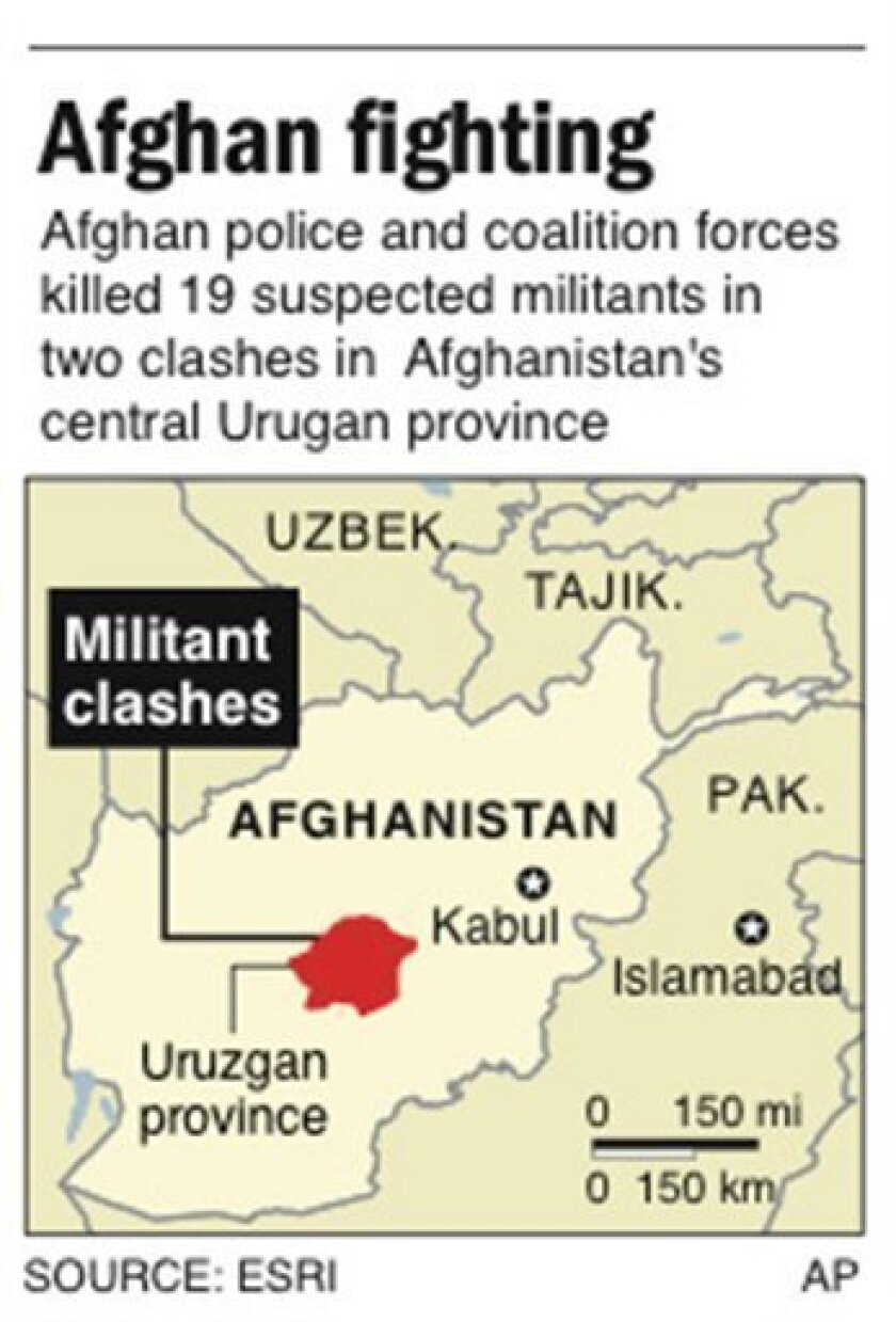 Map locates Uruzgan province, Afghanistan, where militants clashed with coalition forces