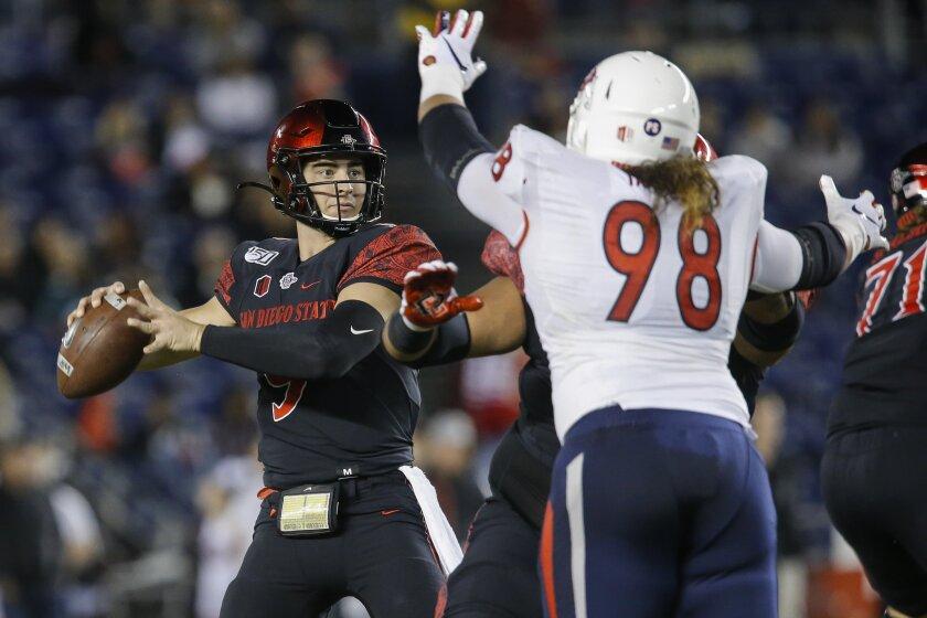 SDSU quarterback Ryan Agnew (9) looks to pass in the first quarter against Fresno St.