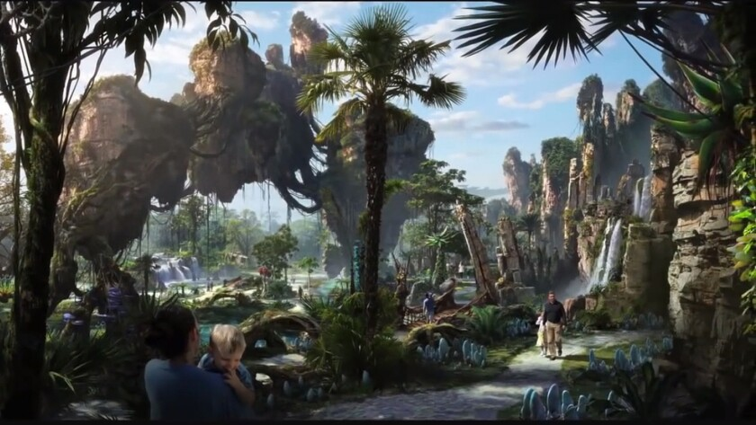 Concept art of the Avatar-themed Pandora at Disney's Animal Kingdom in Florida.