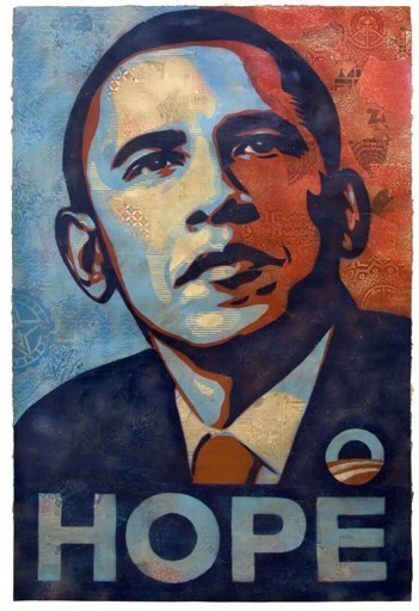"This undated file photo shows the mixed media collage by Shepard Fairey, photo courtesy of the National Portrait Gallery, titled ""Barack Obama,"" will be on view at the Portrait Gallery by Inauguration Day. Fairey's large-scale, mixed-media stenciled collage was the central portrait image for the"