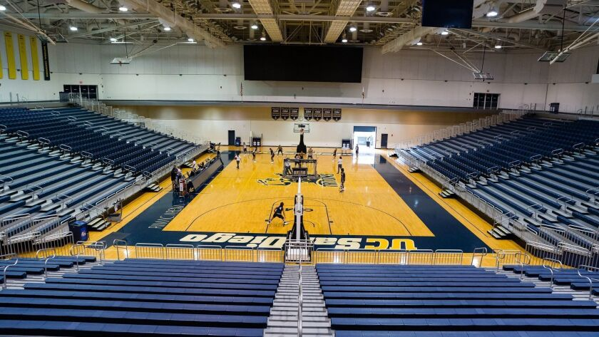 The UCSD women's basketball team practices in the remodeled RIMAC Arena.