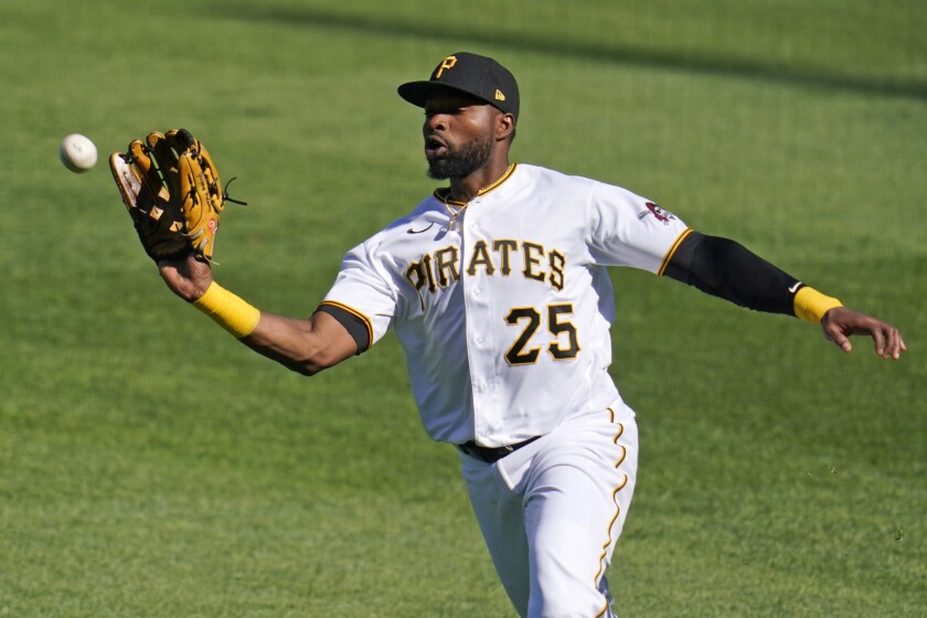 Pittsburgh Pirates right fielder Gregory Polanco catches a fly ball hit by Cincinnati Reds' Nick Castellanos off Pirates' starting pitcher Steven Brault during the first inning of a baseball game in Pittsburgh, Friday, Sept. 4, 2020. (AP Photo/Gene J. Puskar)
