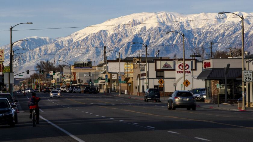 BISHOP, CA - JANUARY 19, 2019: Business owners along this picturesque stretch of Highway 395 may soo