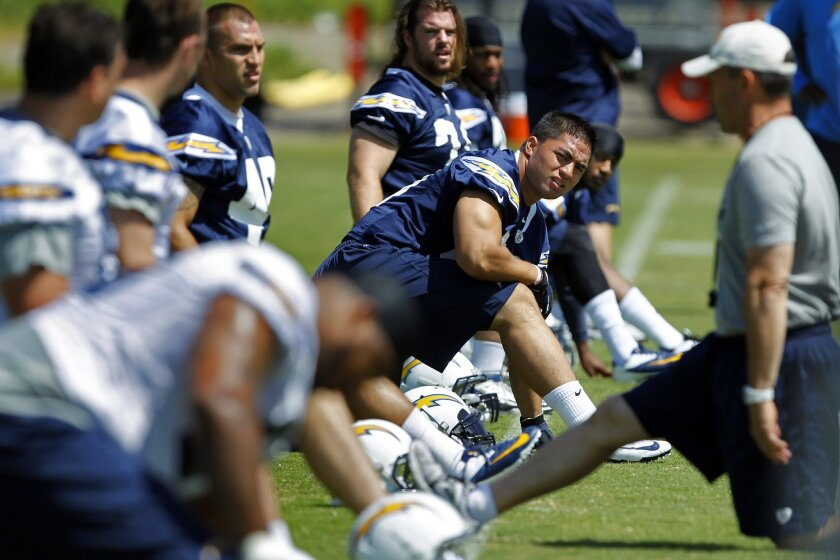 San Diego Chargers Manti Te'o (50) stretches during the first day of rookie mini-camp.