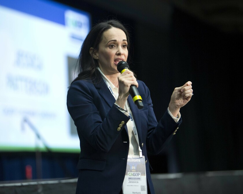 Jessica Millan Patterson, now-chairwoman of the California Republican Party, speaks to delegates after her nomination during the party convention in Sacramento on Feb. 23, 2019.