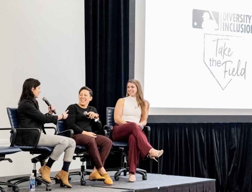 Panel members, including Orioles director of baseball development Eve Rosenbaum (left), discuss growing opportunities for women in baseball Friday at the Manchester Grand Hyatt.