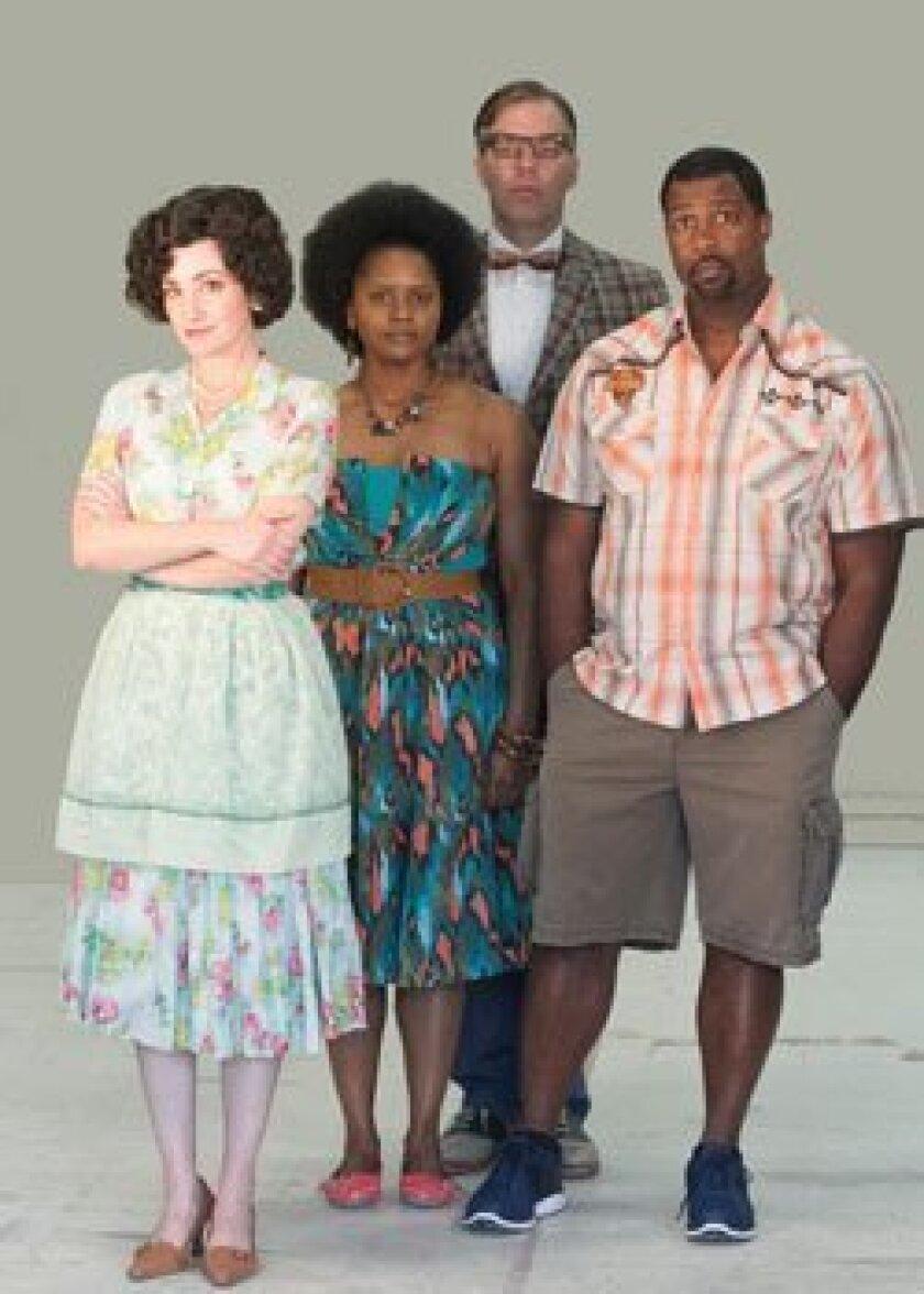 Sandy Campbell, Monique Gaffney, Jason Heil and Matt Orduña star in 'Clybourne Park,' the San Diego REP's new comedy.  Photo/Darren Scott