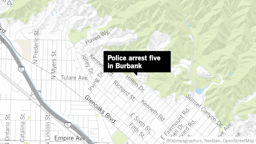 Burbank police took five people, four of who are juveniles, into custody on Sunday after they were suspected of trying to steal a car, according to authorities.