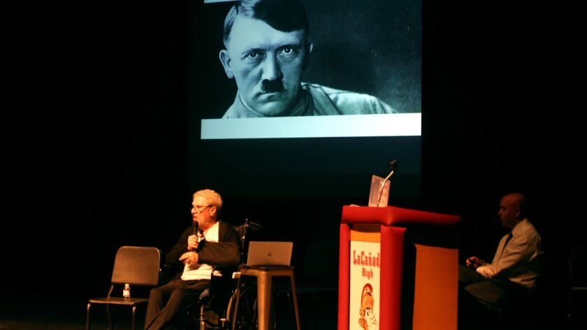 """Holocaust survivor Leon Prochnik tells his story to La Cañada High School seventh- and eighth-graders, during """"Beyond Fear, Resilience, Resistance and Bravery: Stories of Trauma and Tragedies through the Holocaust,"""" on Thursday, March 28, 2019."""