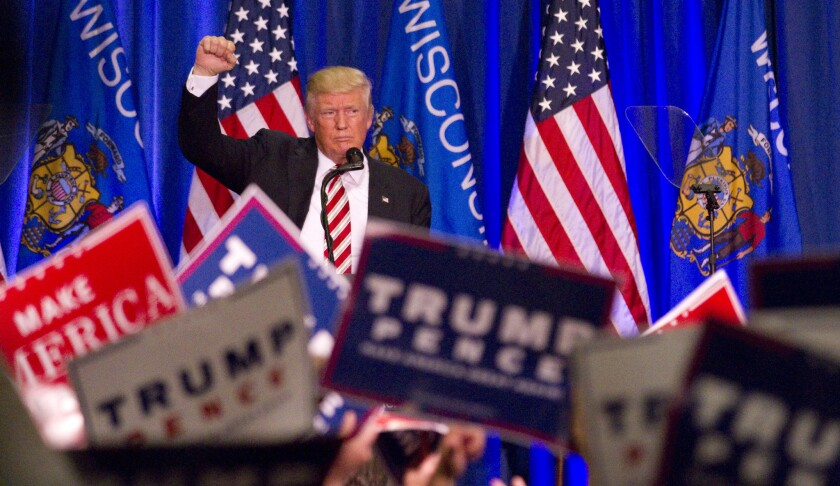 Republican presidential nominee Donald Trump spoke Tuesday in West Bend, Wis.