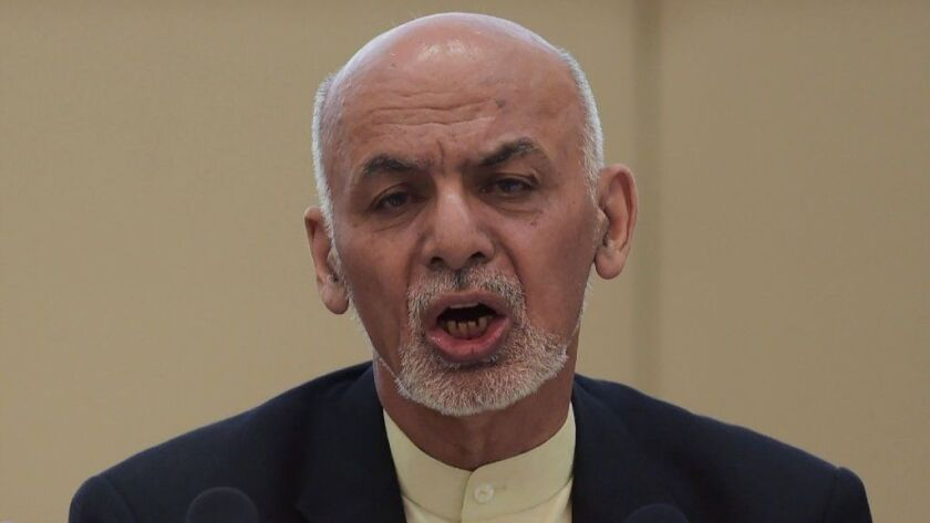 Afghan President Ashraf Ghani speaks at the second Kabul Process conference on Feb. 28, 2018.