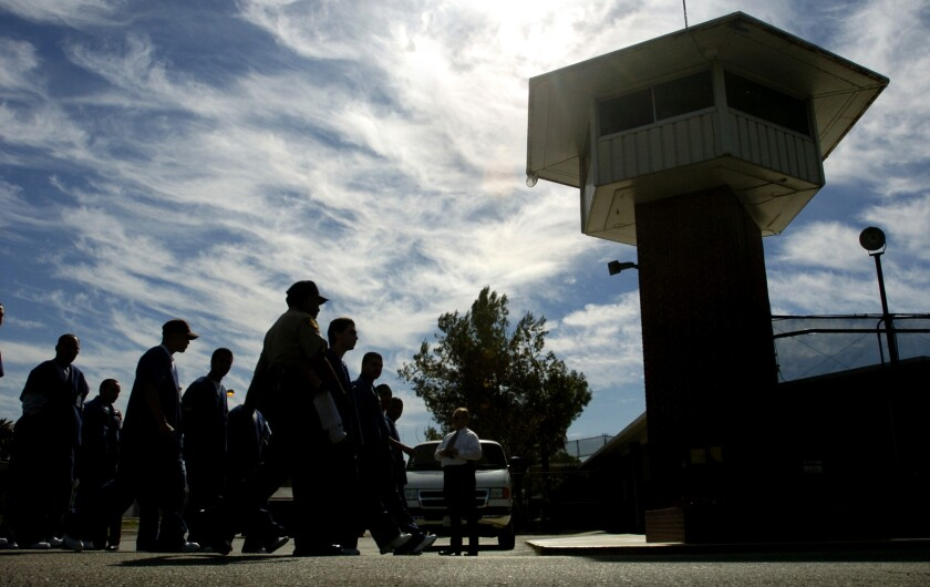 Inmates are transfererd between facilities at the California Youth Authority in Chino. Advocates have criticized the youth prison system alleging substandard medical care, psychiatric counseling and schooling.