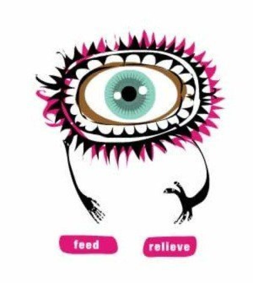 The Greedy organ is a mascot for the age 25-and-under audience. The cartoon-like character, fashioned after a human eye, 'eats free' at MCASD. Courtesy