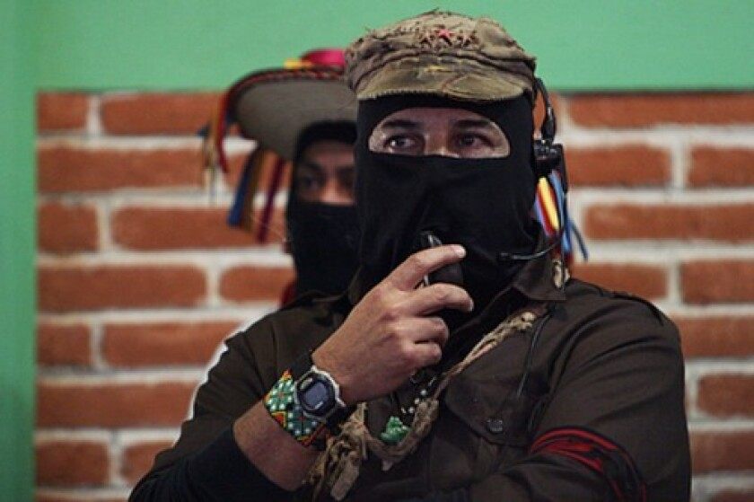 """Subcomandante Marcos criticized Mexican President Felipe Calderon and his war on drugs, leftist leaders and even President-elect Barack Obama in an appearance at the """"Festival of Dignified Rage"""" held in Chiapas state."""