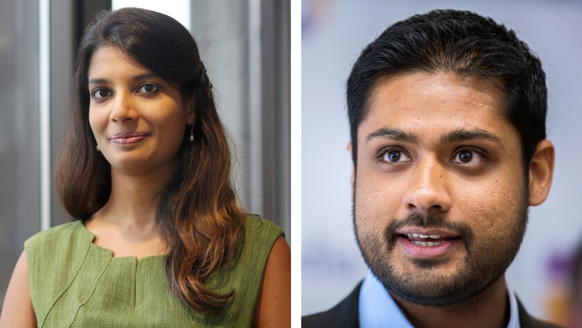 Outcome Health President Shradha Agarwal, left, and CEO Rishi Shah. Founded as ContextMedia in 2006, the medical advertising firm exploded in growth. Now investors are accusing it of lying about its performance to secure a nearly $500 million in funding.