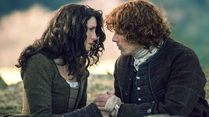 "Caitriona Balfe and Sam Heughan in ""Outlander,"" which is based on the books by Diana Gabaldon."