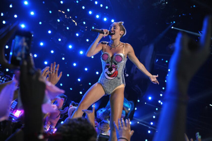 Miley Cyrus performs at the MTV Video Music Awards in Brooklyn.