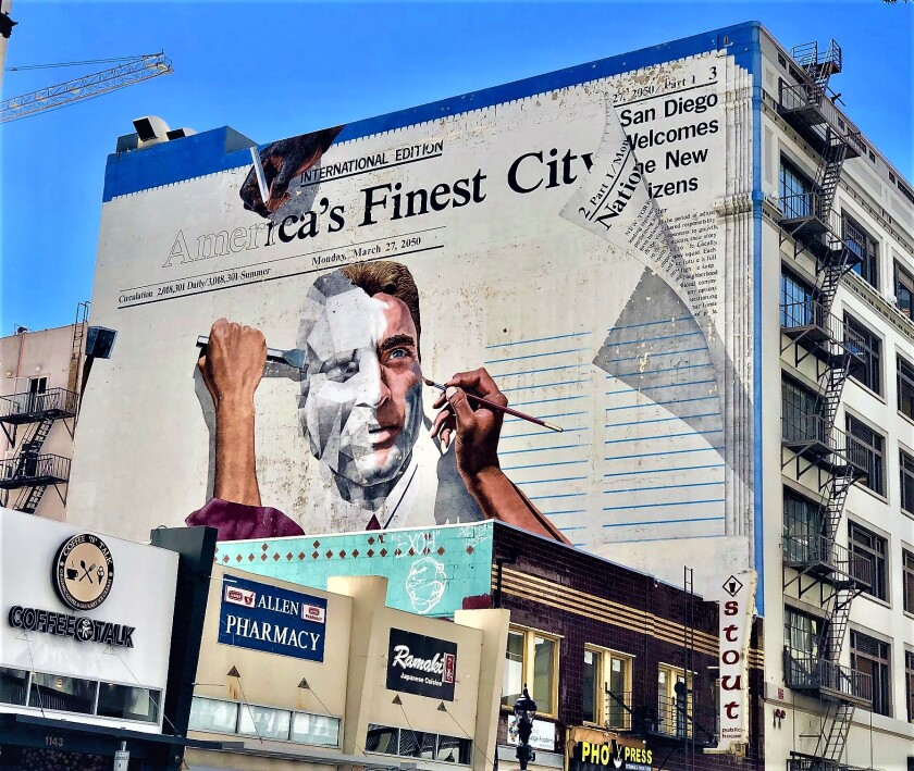 """This """"America's Finest City"""" mural, painted in 1989, is deteriorating after 30 years on a building at Sixth Avenue and C Street, begging the question of what its future holds. One of the original artists would like to see it restored."""