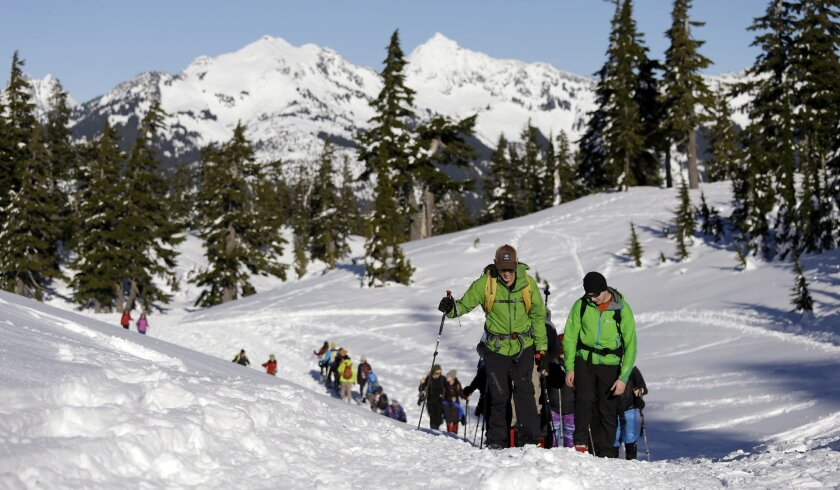 In this Jan. 11, 2016, photo Eric Gullickson, front left, an avalanche instructor with the Northwest Avalanche Center, leads teenagers on an avalanche awareness field trip at Mount Baker, Wash. As more young adults head out of bounds to ski, snowboard or hike in the winter, experts are targeting their message about avalanche safety and knowledge to an even younger audience. (AP Photo/Elaine Thompson)