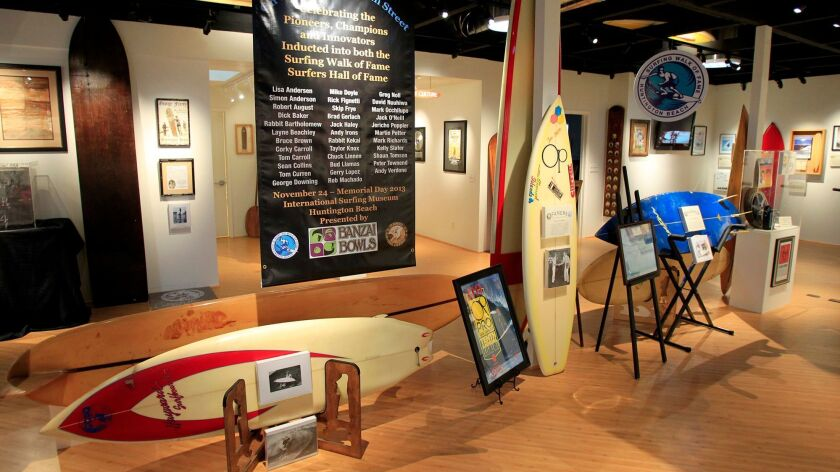 The Famers exhibit, a celebration of surfing legends, at the International Surfing Museum in Hunting