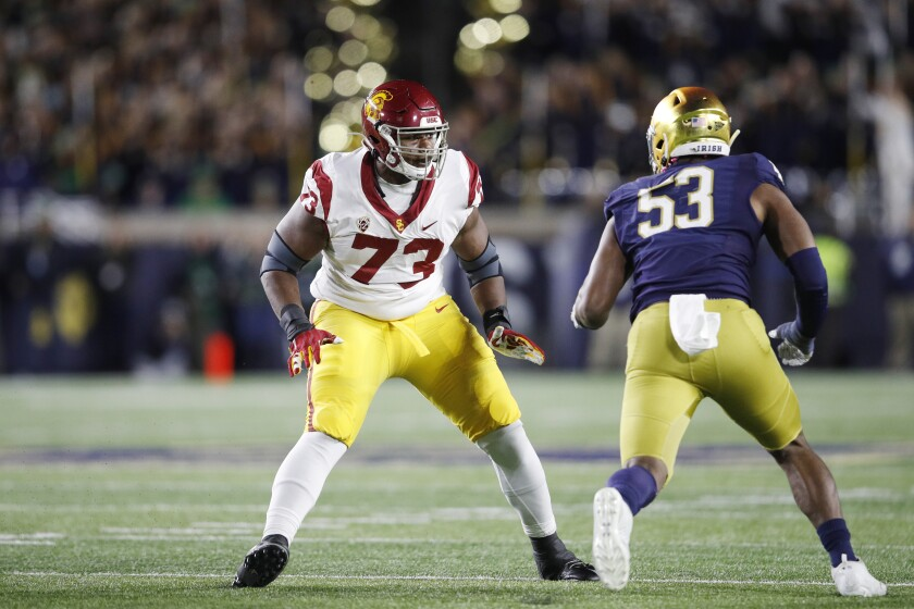 USC offensive tackle Austin Jackson blocks against Notre Dame on Oct. 12, 2019, in South Bend, Ind.