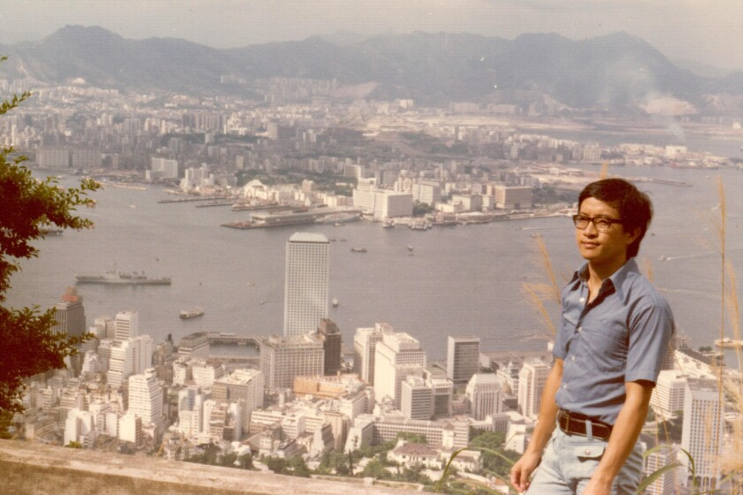 """Kent Wong overlooks Hong Kong bay in 1974. Wong is the author of the forthcoming memoir, """"Swimming to Freedom: My Escape From China and the Cultural Revolution."""" (Courtesy of Kent Wong)"""