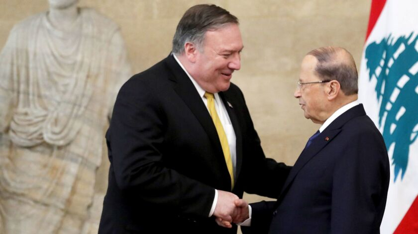 Secretary of State Michael R. Pompeo, left, meets March 22 with Lebanon's President Michel Aoun at the presidential palace in Baabda, Lebanon.