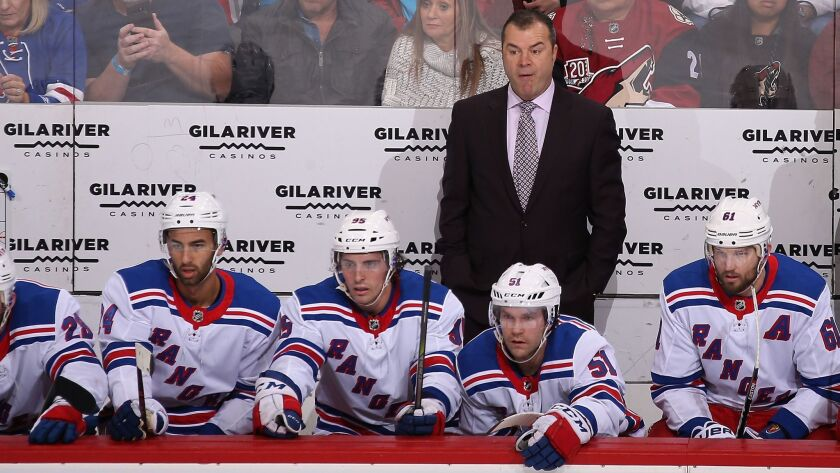 Alain Vigneault coaches the New York Rangers against the Arizona Coyotes on Friday.