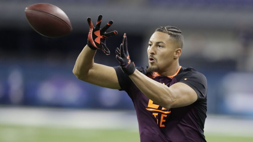 UCLA tight end Caleb Wilson runs a drill during the NFL scouting combine March 2 in Indianapolis.