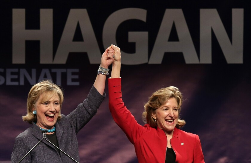 Hillary Clinton Campaigns with Kay Hagan In Charlotte