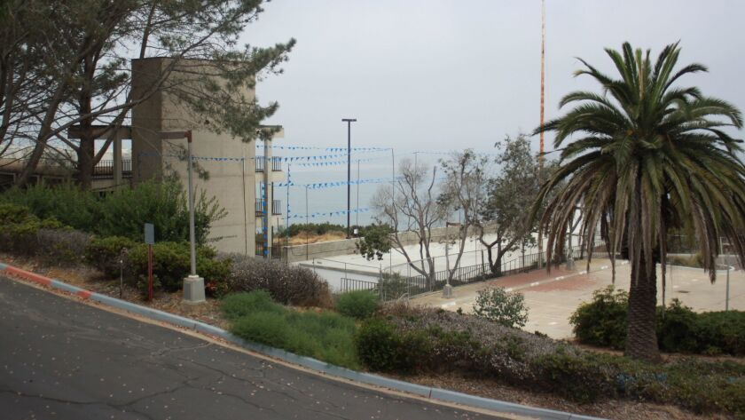 A view (from the intersecting La Jolla Shores Lane) of the story poles that outline where new SIO de
