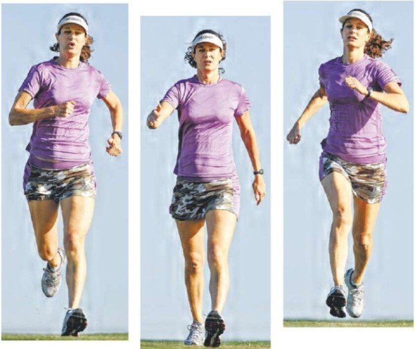 Joan Reker runs and walks in Mission Bay Park. Altering the intensity of a workout may increase its efficiency