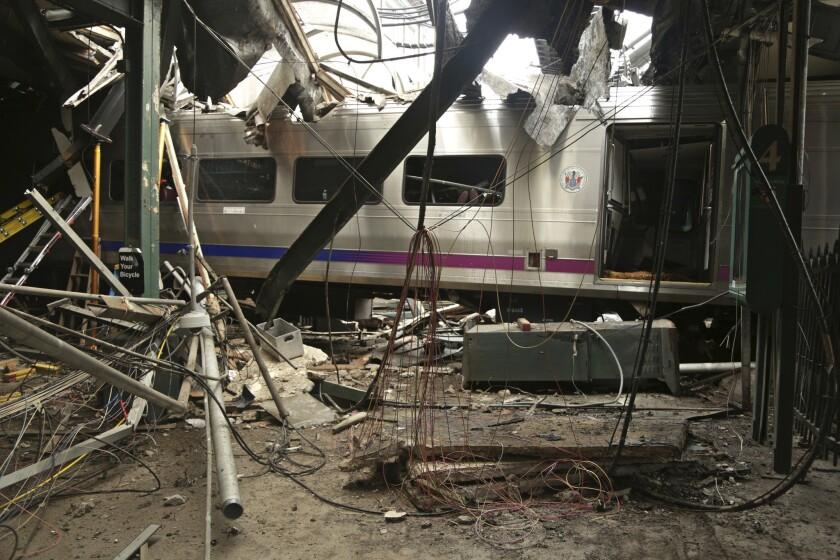 A National Transportation Safety Board photo shows the damage after the Sept. 29 commuter train crash in Hoboken, N.J.