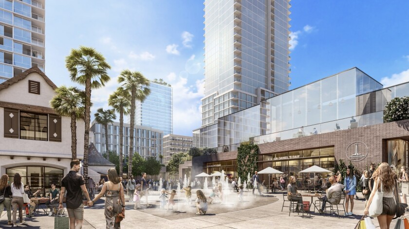 Artist rendering of the Crossroads project, which includes a 26-story hotel and two residential towe