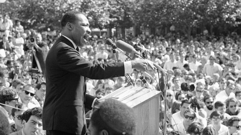Martin Luther King Jr. speaks at the UC Berkeley on May 17, 1967.