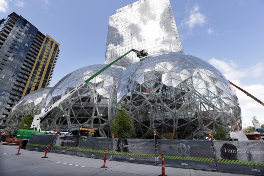 Construction at the Amazon campus in downtown Seattle, photographed in April.