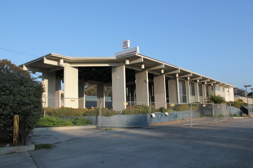So Others May Eat, Inc. is looking into purchasing the former Guy Hill Cadillac Dealership at 4275 Mision Bay Drive for use as a homeless shelter. Pat Sherman photos